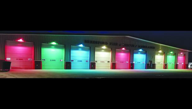 A few sheets of colored plastic wrap turns station lights into Christmas lights at the Beresford, SD, Fire and Rescue headquarters.